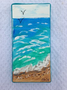 Hand-painted Beach Scene Mini Canvas